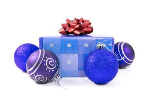 christmas baubles and gift